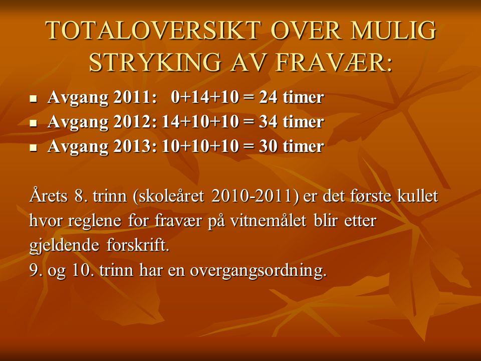 TOTALOVERSIKT OVER MULIG STRYKING AV FRAVÆR: Avgang 2011: 0+14+10 = 24 timer Avgang 2011: 0+14+10 = 24 timer Avgang 2012: 14+10+10 = 34 timer Avgang 2012: 14+10+10 = 34 timer Avgang 2013: 10+10+10 = 30 timer Avgang 2013: 10+10+10 = 30 timer Årets 8.