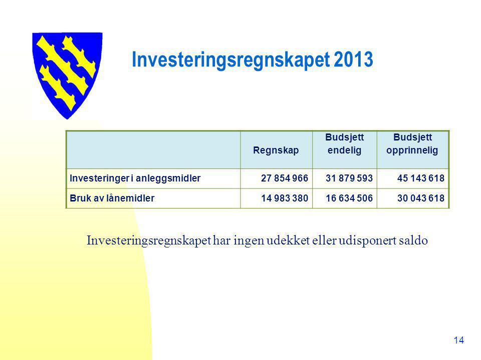 Investeringsregnskapet 2013 14 Regnskap Budsjett endelig Budsjett opprinnelig Investeringer i anleggsmidler27 854 96631 879 59345 143 618 Bruk av låne