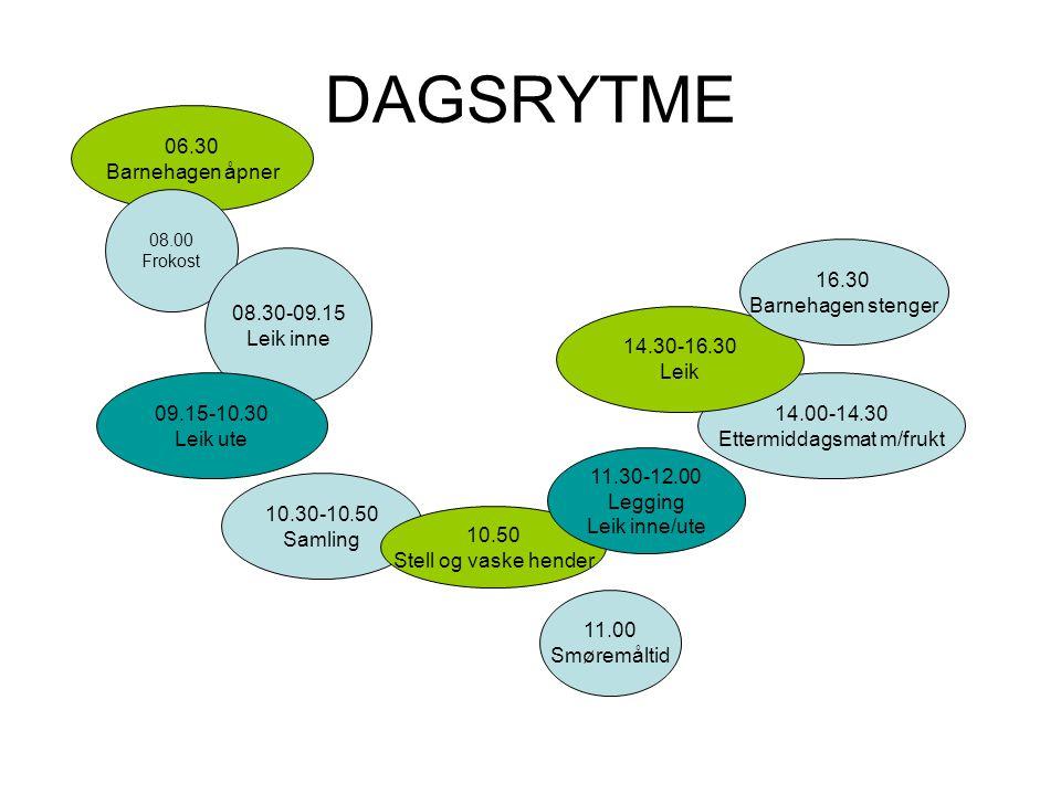 DAGSRYTME 06.30 Barnehagen åpner 08.00 Frokost 08.30-09.15 Leik inne 09.15-10.30 Leik ute 10.30-10.50 Samling 10.50 Stell og vaske hender 11.00 Smørem
