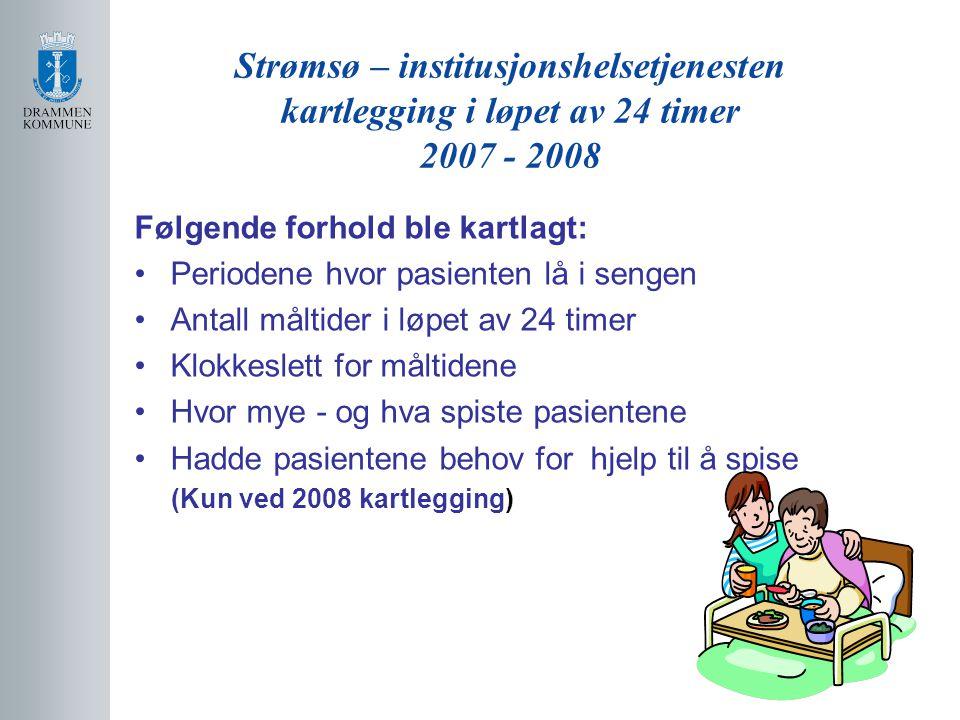 Strømsø – institusjonshelsetjenesten kartlegging i løpet av 24 timer 2007 - 2008 Følgende forhold ble kartlagt: Periodene hvor pasienten lå i sengen A