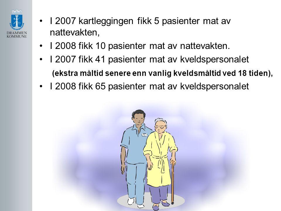 I 2007 kartleggingen fikk 5 pasienter mat av nattevakten, I 2008 fikk 10 pasienter mat av nattevakten. I 2007 fikk 41 pasienter mat av kveldspersonale
