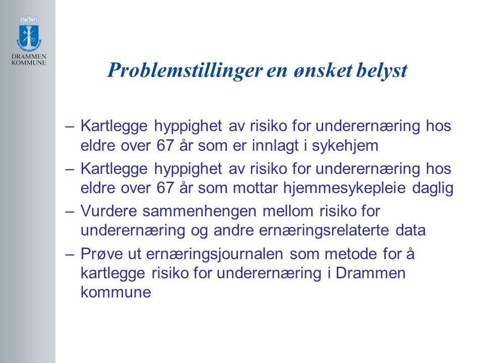 Hyppighet av underernæring I henhold til hensikter og mål med undersøkelsen har vi klarlagt følgende: Hyppigheten av underernæring hos eldre over 67 år kan på grunnlag av målt BMI i ernæringsjournalen se ut til å gjelde mer enn 50 % av pasienter /brukere i Drammen kommune BMI = 23,05 som er under normalverdien (24 til 29 foreslått som normalområde for gamle) Selv etter justering for at våre pasienter er litt eldre enn gjennomsnittet i den totale populasjonen så er det overveiende sannsynlig at dette fortsatt gjelder for pasienter/brukere som er inkludert i studien
