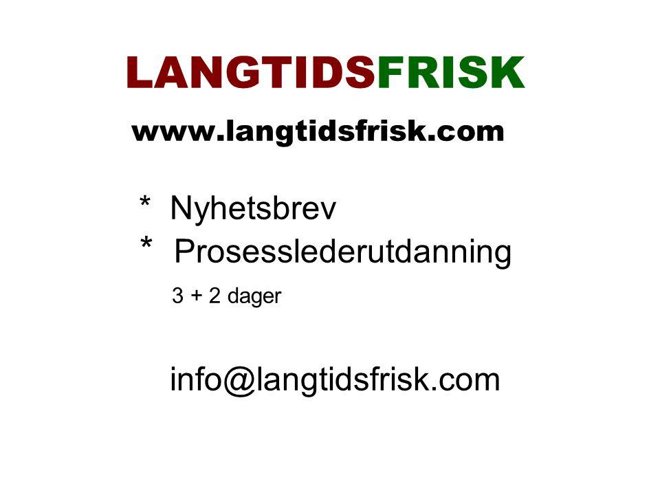 LANGTIDSFRISK www.langtidsfrisk.com * Nyhetsbrev * Prosesslederutdanning 3 + 2 dager info@langtidsfrisk.com