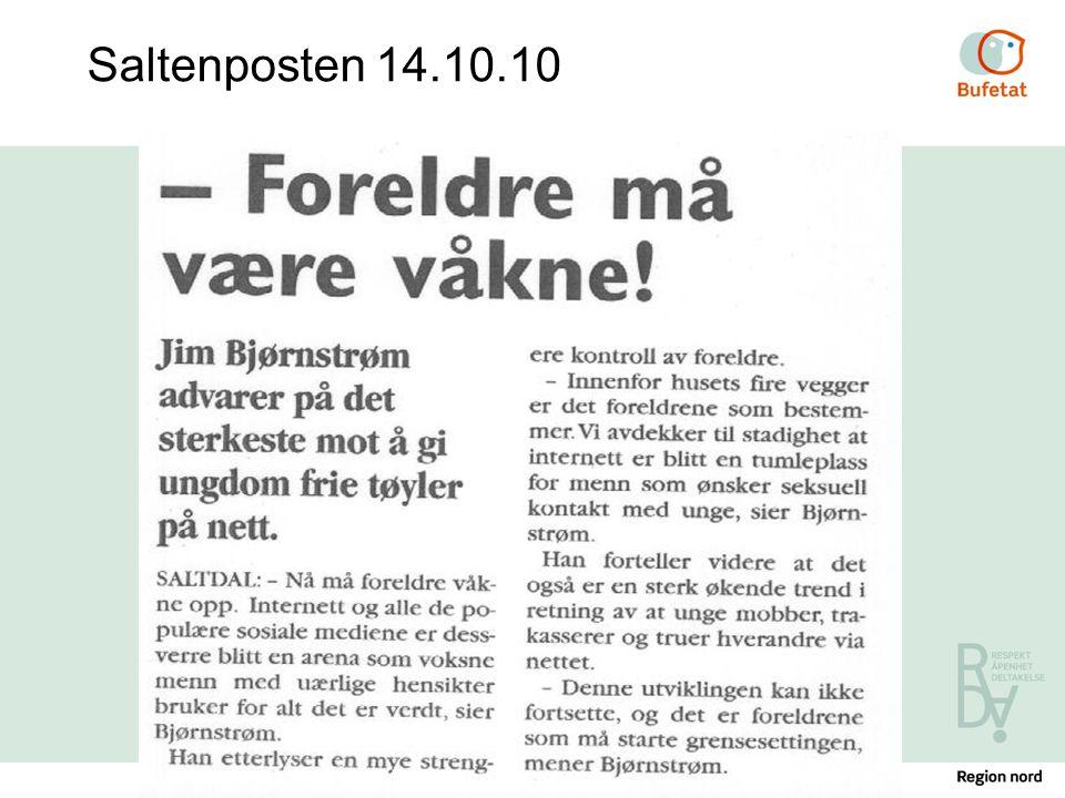 Foreldreferdighetskurs - Røvika ungdomssenter / 07.07.2014 Saltenposten 14.10.10