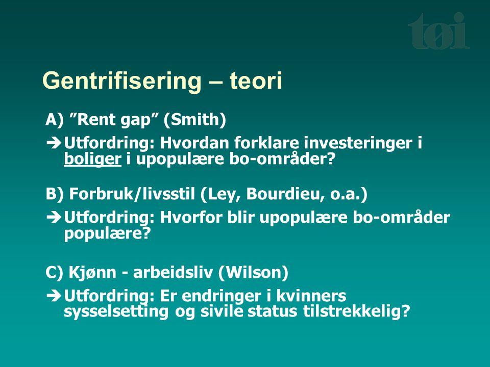 """Gentrifisering – teori A) """"Rent gap"""" (Smith)  Utfordring: Hvordan forklare investeringer i boliger i upopulære bo-områder? B) Forbruk/livsstil (Ley,"""