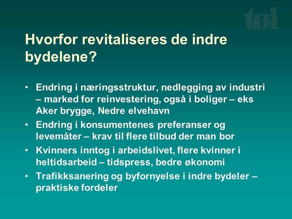 Hvorfor revitaliseres de indre bydelene? Endring i næringsstruktur, nedlegging av industri – marked for reinvestering, også i boliger – eks Aker brygg