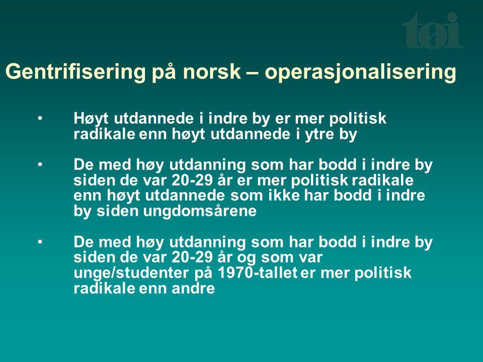 Gentrifisering på norsk – operasjonalisering Høyt utdannede i indre by er mer politisk radikale enn høyt utdannede i ytre by De med høy utdanning som