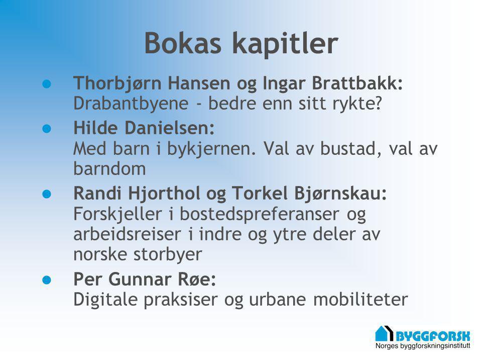 Bokas kapitler Thorbjørn Hansen og Ingar Brattbakk: Drabantbyene - bedre enn sitt rykte? Hilde Danielsen: Med barn i bykjernen. Val av bustad, val av