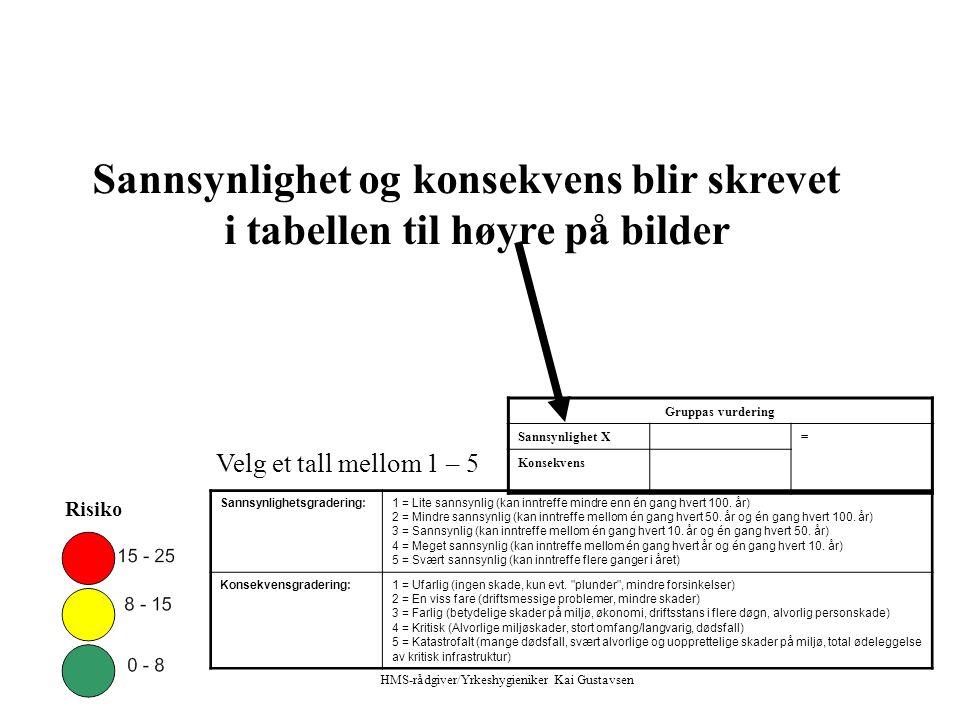 Risiko Sannsynlighetsgradering:1 = Lite sannsynlig (kan inntreffe mindre enn én gang hvert 100.