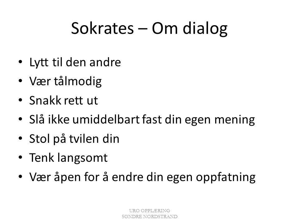 Sokrates – Om dialog Lytt til den andre Vær tålmodig Snakk rett ut Slå ikke umiddelbart fast din egen mening Stol på tvilen din Tenk langsomt Vær åpen