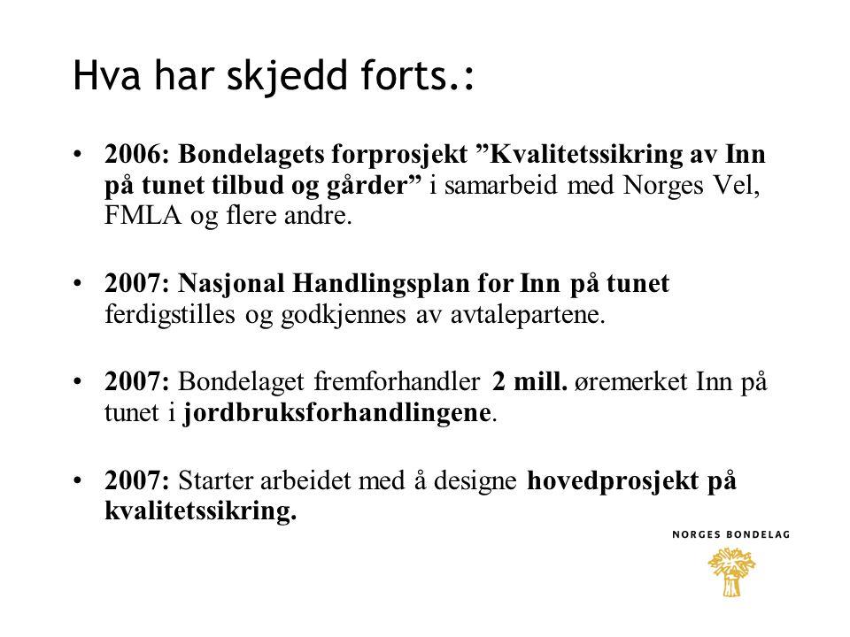 """Hva har skjedd forts.: 2006: Bondelagets forprosjekt """"Kvalitetssikring av Inn på tunet tilbud og gårder"""" i samarbeid med Norges Vel, FMLA og flere and"""