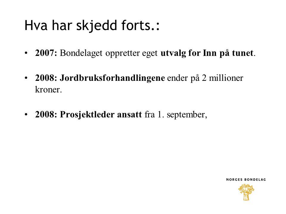 Hva har skjedd forts.: 2007: Bondelaget oppretter eget utvalg for Inn på tunet. 2008: Jordbruksforhandlingene ender på 2 millioner kroner. 2008: Prosj