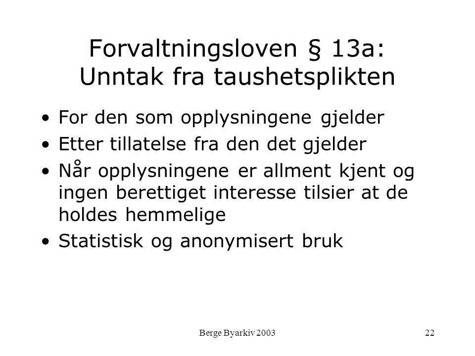 Berge Byarkiv 200322 Forvaltningsloven § 13a: Unntak fra taushetsplikten For den som opplysningene gjelder Etter tillatelse fra den det gjelder Når op