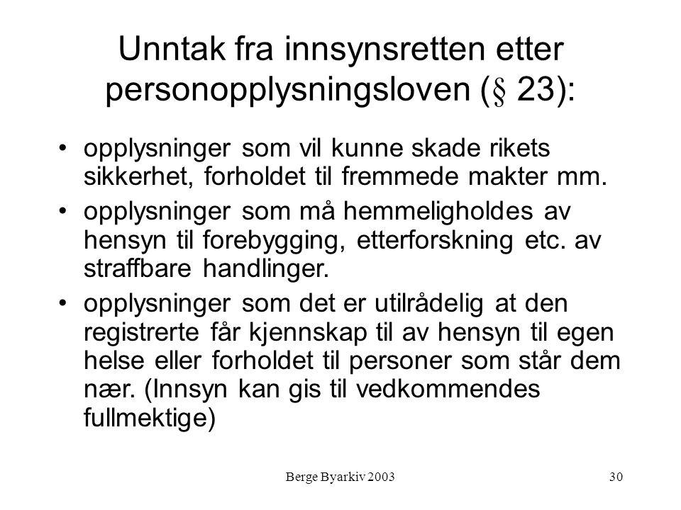 Berge Byarkiv 200330 Unntak fra innsynsretten etter personopplysningsloven (§ 23): opplysninger som vil kunne skade rikets sikkerhet, forholdet til fr