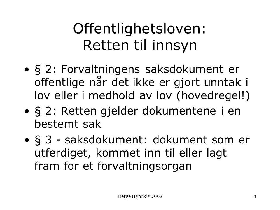 Berge Byarkiv 20034 Offentlighetsloven: Retten til innsyn § 2: Forvaltningens saksdokument er offentlige når det ikke er gjort unntak i lov eller i me