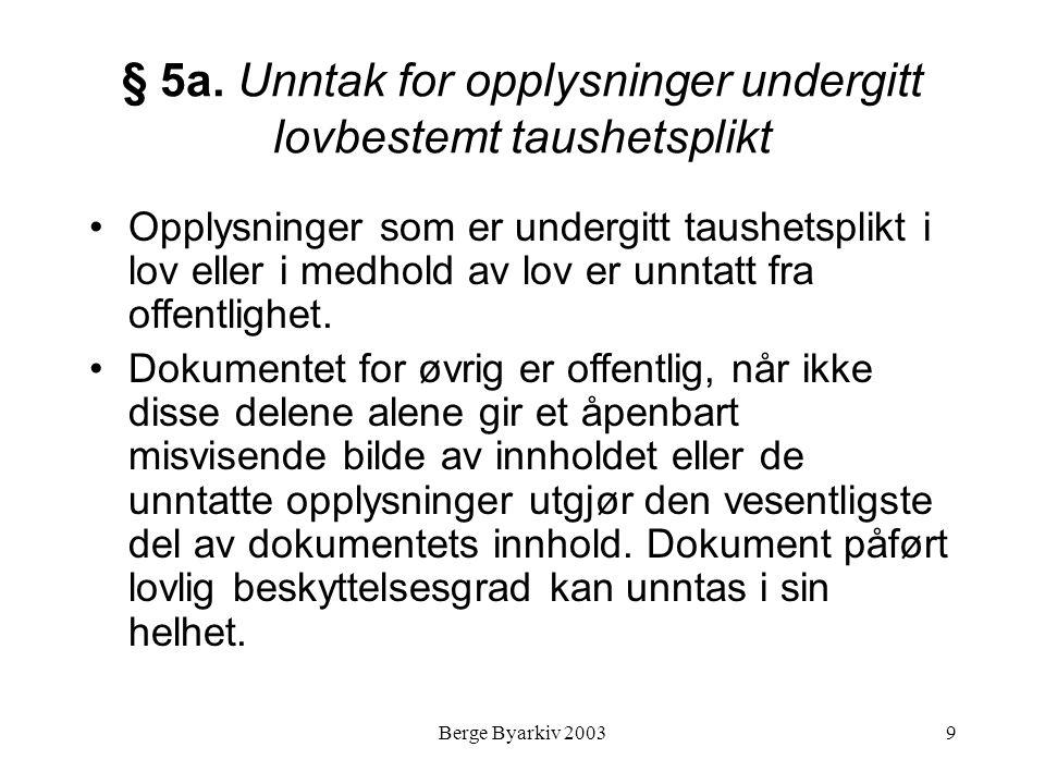Berge Byarkiv 20039 § 5a. Unntak for opplysninger undergitt lovbestemt taushetsplikt Opplysninger som er undergitt taushetsplikt i lov eller i medhold