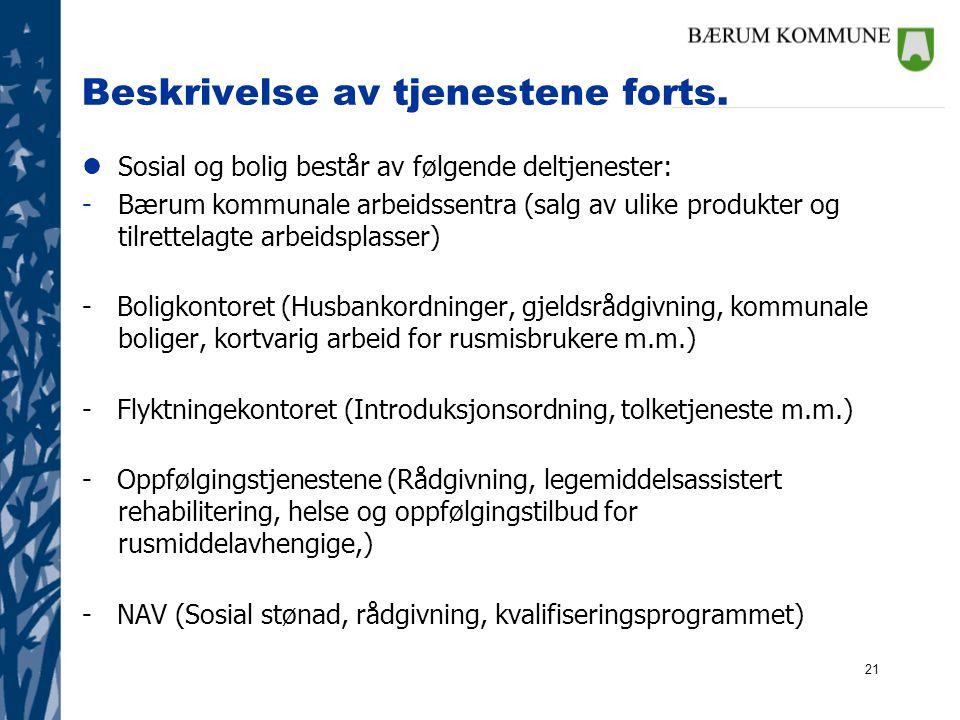 21 Beskrivelse av tjenestene forts. lSosial og bolig består av følgende deltjenester: -Bærum kommunale arbeidssentra (salg av ulike produkter og tilre