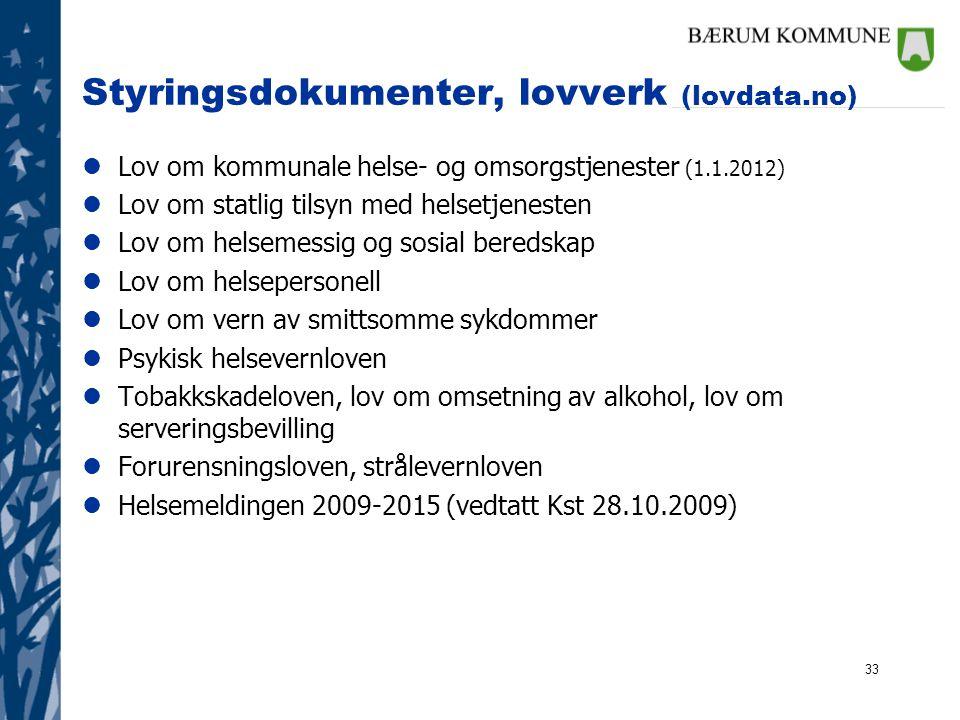 33 Styringsdokumenter, lovverk (lovdata.no) lLov om kommunale helse- og omsorgstjenester (1.1.2012) lLov om statlig tilsyn med helsetjenesten lLov om