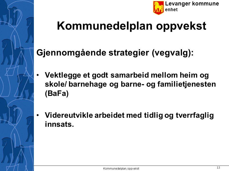 Levanger kommune enhet Kommunedelplan oppvekst Gjennomgående strategier (vegvalg): Vektlegge et godt samarbeid mellom heim og skole/ barnehage og barn