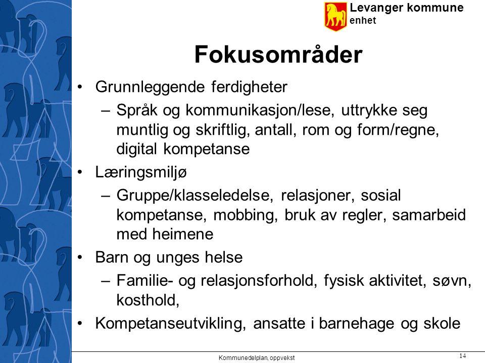 Levanger kommune enhet Fokusområder Grunnleggende ferdigheter –Språk og kommunikasjon/lese, uttrykke seg muntlig og skriftlig, antall, rom og form/reg