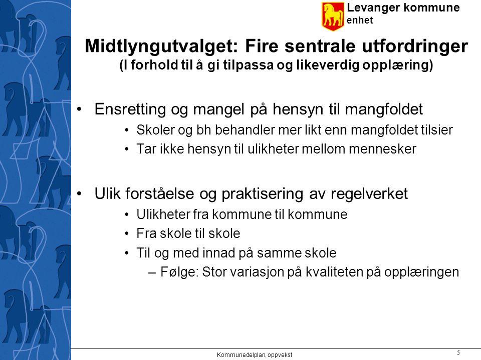 Levanger kommune enhet Midtlyngutvalget: Fire sentrale utfordringer (I forhold til å gi tilpassa og likeverdig opplæring) Ensretting og mangel på hens