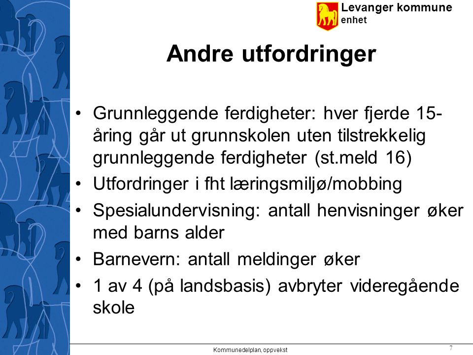 Levanger kommune enhet Andre utfordringer Grunnleggende ferdigheter: hver fjerde 15- åring går ut grunnskolen uten tilstrekkelig grunnleggende ferdigh
