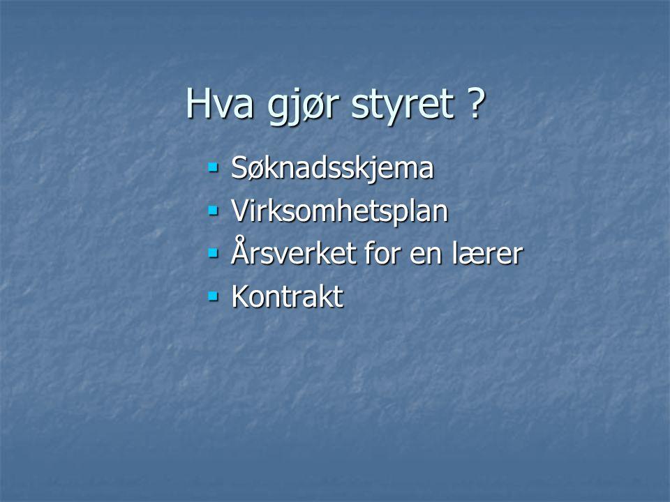 Hva gjør styret  Søknadsskjema  Virksomhetsplan  Årsverket for en lærer  Kontrakt