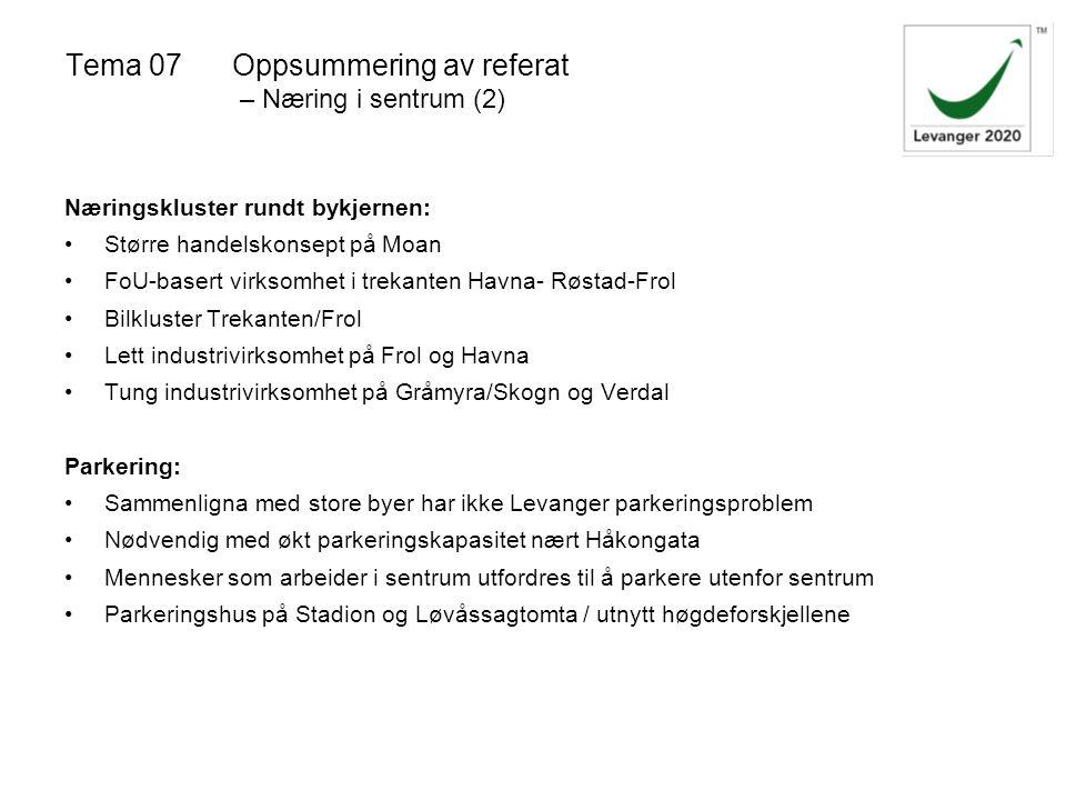 Tema 07Oppsummering av referat – Næring i sentrum (2) Næringskluster rundt bykjernen: Større handelskonsept på Moan FoU-basert virksomhet i trekanten Havna- Røstad-Frol Bilkluster Trekanten/Frol Lett industrivirksomhet på Frol og Havna Tung industrivirksomhet på Gråmyra/Skogn og Verdal Parkering: Sammenligna med store byer har ikke Levanger parkeringsproblem Nødvendig med økt parkeringskapasitet nært Håkongata Mennesker som arbeider i sentrum utfordres til å parkere utenfor sentrum Parkeringshus på Stadion og Løvåssagtomta / utnytt høgdeforskjellene