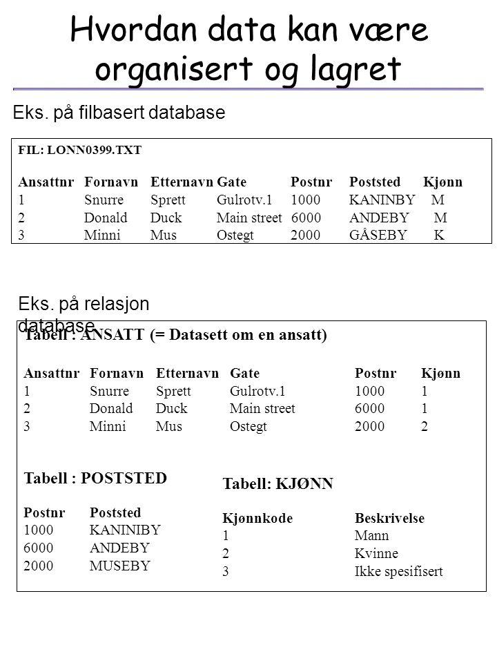 Tabell: Ansatt Kolonne datatype indexForeign Key Ansattnr number(10) not null PK Fornavn char(30) Etternavn char(30) Gate char(30) Postnr char(4) IPos