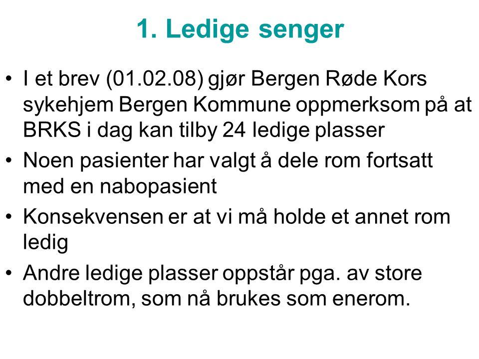 1. Ledige senger I et brev (01.02.08) gjør Bergen Røde Kors sykehjem Bergen Kommune oppmerksom på at BRKS i dag kan tilby 24 ledige plasser Noen pasie