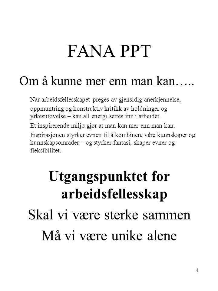 15 FANA PPT- faste skoledager Ninni/ Turid Anita Apeltun ; Paradis; Tirsdager – torsdager, hele/ halve dager.