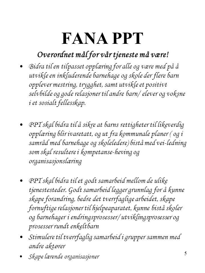 26 FANA PPT- Saksgang ved bekymring / henvisning- fortsetter; Tiltak evalueres/ revurderes Videre behov drøftes, PPT skal være med på vurdering av henvisning.