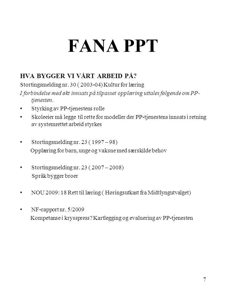 8 FANA PPT PP-tjenetens rolle og oppgaver Virksomhetens oppgaver er hjemlet i Opplæringsloven med forskrifter.