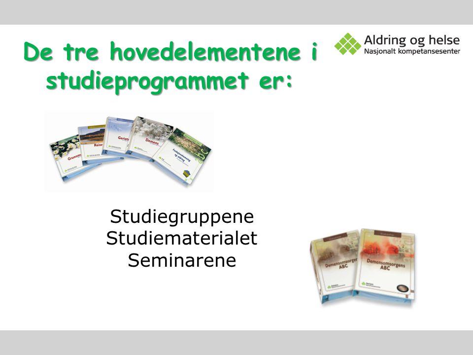De tre hovedelementene i studieprogrammet er: Studiegruppene Studiematerialet Seminarene