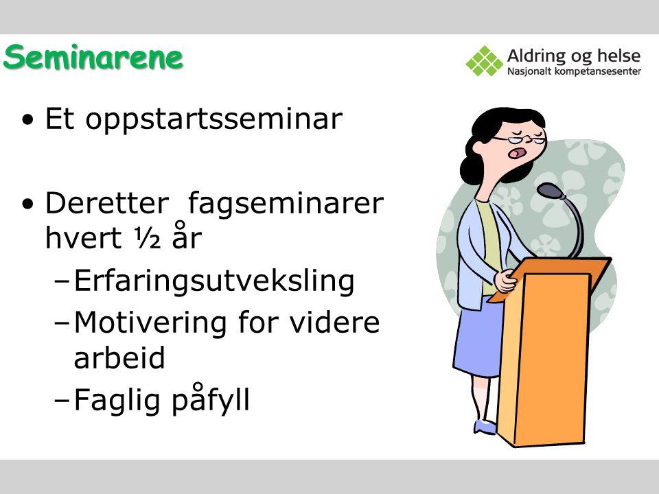 Seminarene Et oppstartsseminar Deretter fagseminarer hvert ½ år –Erfaringsutveksling –Motivering for videre arbeid –Faglig påfyll