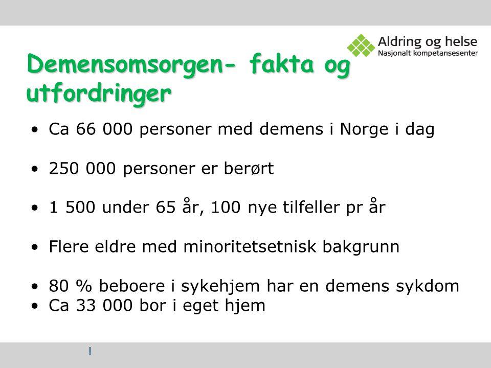 | Demensomsorgen- fakta og utfordringer Ca 66 000 personer med demens i Norge i dag 250 000 personer er berørt 1 500 under 65 år, 100 nye tilfeller pr