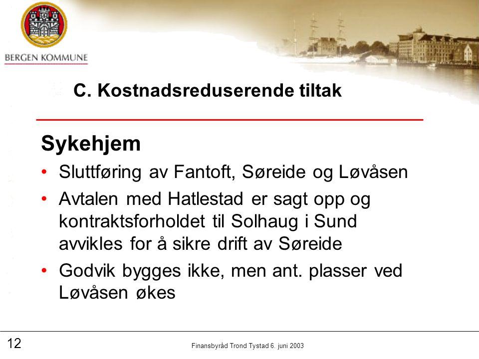 12 Finansbyråd Trond Tystad 6. juni 2003 C.