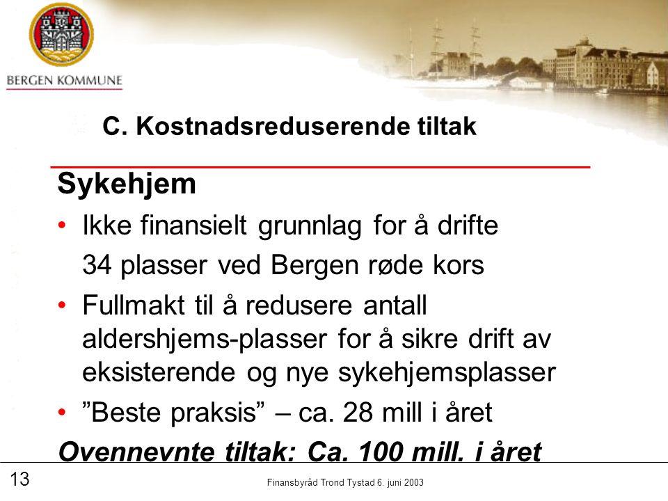 13 Finansbyråd Trond Tystad 6. juni 2003 C.