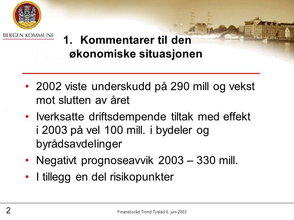 2 Finansbyråd Trond Tystad 6. juni 2003 1.Kommentarer til den økonomiske situasjonen 2002 viste underskudd på 290 mill og vekst mot slutten av året Iv