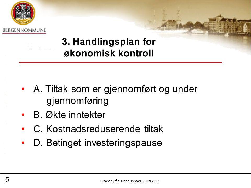 5 Finansbyråd Trond Tystad 6. juni 2003 3. Handlingsplan for økonomisk kontroll A.