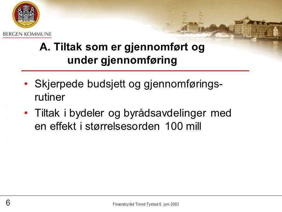 6 Finansbyråd Trond Tystad 6. juni 2003 A.