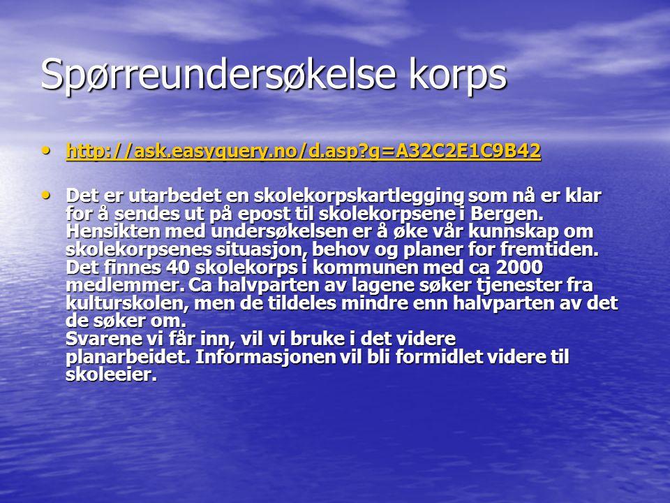 Spørreundersøkelse korps http://ask.easyquery.no/d.asp?g=A32C2E1C9B42 http://ask.easyquery.no/d.asp?g=A32C2E1C9B42 http://ask.easyquery.no/d.asp?g=A32C2E1C9B42 Det er utarbedet en skolekorpskartlegging som nå er klar for å sendes ut på epost til skolekorpsene i Bergen.