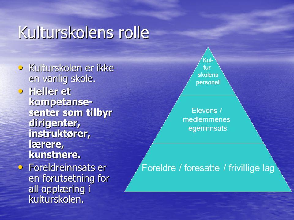 Kulturskolens rolle Kulturskolen er ikke en vanlig skole.