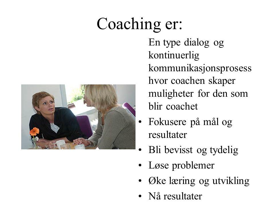 Coaching er: En type dialog og kontinuerlig kommunikasjonsprosess hvor coachen skaper muligheter for den som blir coachet Fokusere på mål og resultate