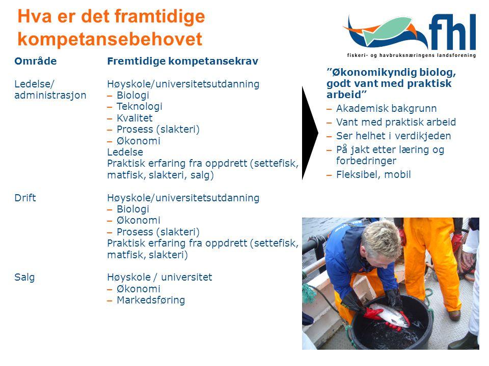 Hva er det framtidige kompetansebehovet OmrådeFremtidige kompetansekrav Ledelse/ administrasjon Drift Salg Høyskole/universitetsutdanning – Biologi – Teknologi – Kvalitet – Prosess (slakteri) – Økonomi Ledelse Praktisk erfaring fra oppdrett (settefisk, matfisk, slakteri, salg) Høyskole/universitetsutdanning – Biologi – Økonomi – Prosess (slakteri) Praktisk erfaring fra oppdrett (settefisk, matfisk, slakteri) Høyskole / universitet – Økonomi – Markedsføring Økonomikyndig biolog, godt vant med praktisk arbeid – Akademisk bakgrunn – Vant med praktisk arbeid – Ser helhet i verdikjeden – På jakt etter læring og forbedringer – Fleksibel, mobil