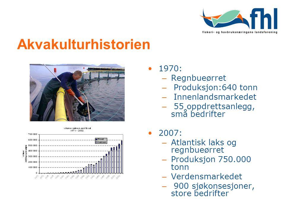 Akvakulturhistorien 1970: – Regnbueørret – Produksjon:640 tonn – Innenlandsmarkedet – 55 oppdrettsanlegg, små bedrifter 2007: – Atlantisk laks og regnbueørret – Produksjon 750.000 tonn – Verdensmarkedet – 900 sjøkonsesjoner, store bedrifter