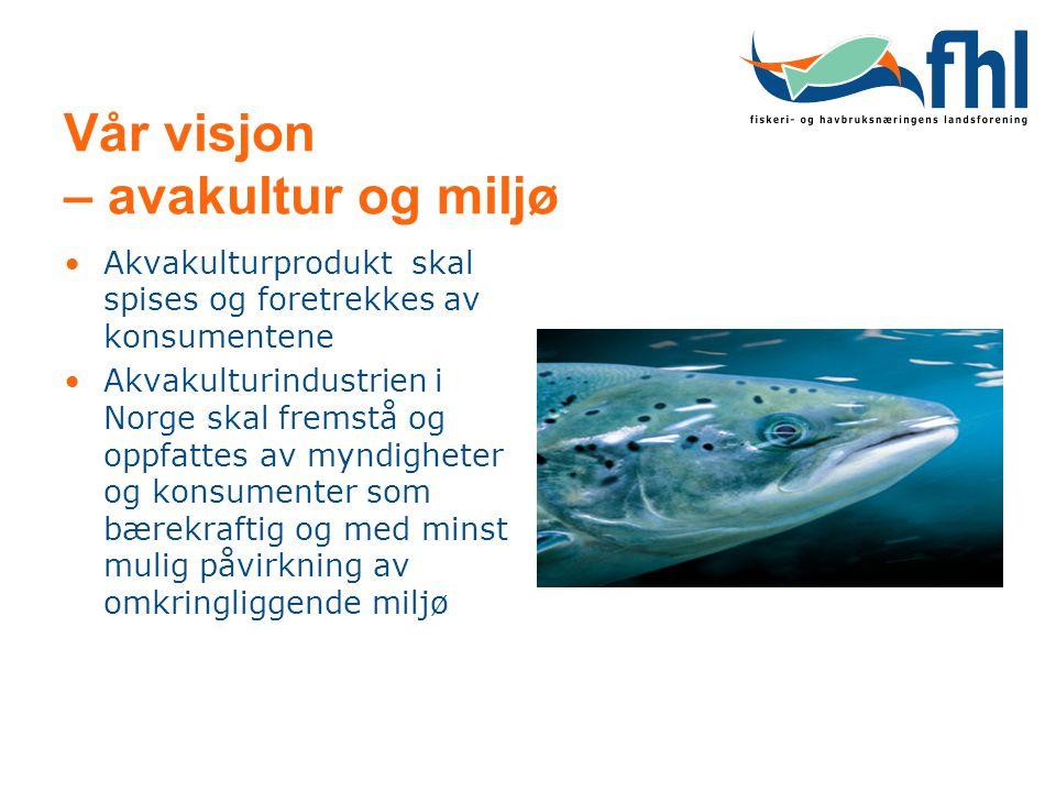 Vår visjon – avakultur og miljø Akvakulturprodukt skal spises og foretrekkes av konsumentene Akvakulturindustrien i Norge skal fremstå og oppfattes av myndigheter og konsumenter som bærekraftig og med minst mulig påvirkning av omkringliggende miljø