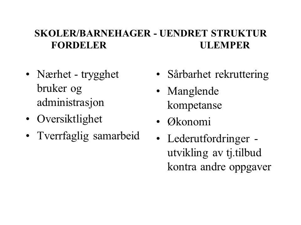 SKOLER/BARNEHAGER - UENDRET STRUKTUR FORDELER ULEMPER Nærhet - trygghet bruker og administrasjon Oversiktlighet Tverrfaglig samarbeid Sårbarhet rekrut