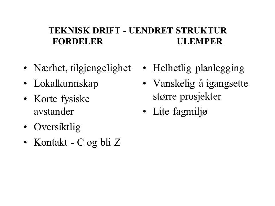 TEKNISK DRIFT - UENDRET STRUKTUR FORDELER ULEMPER Nærhet, tilgjengelighet Lokalkunnskap Korte fysiske avstander Oversiktlig Kontakt - C og bli Z Helhe