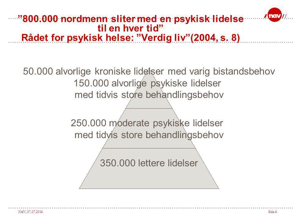 "NAV, 07.07.2014Side 4 ""800.000 nordmenn sliter med en psykisk lidelse til en hver tid"" Rådet for psykisk helse: ""Verdig liv""(2004, s. 8) 50.000 alvorl"
